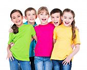 foto of children group  - Group of happy children in colorful t - JPG