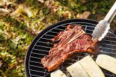 pic of flank steak  - steak on grill - JPG
