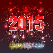 foto of yule  - Happy New Year 2015 with fireworks background - JPG