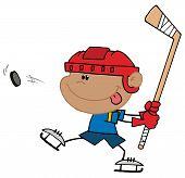 Постер, плакат: Испаноязычное мальчика играть в хоккей