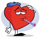 stock photo of the mexican swine flu  - Red Heart With A Thermometer In His Mouth - JPG