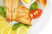 image of butter-lettuce  - roast salmon and butter with tomatoes and lemon - JPG