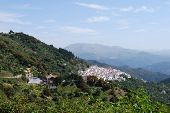 picture of pueblo  - View of the town and surrounding countryside pueblo blanco Algatocin Costa del Sol Malaga Province Andalucia Spain Western Europe - JPG