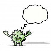 cartoon furry green monster poster
