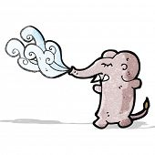 foto of squirt  - funny cartoon elephant squirting water - JPG