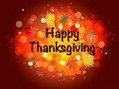 stock photo of happy thanksgiving  - illustration of thanksgiving card with written happy thanksgiving - JPG