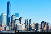 image of freedom tower  - New York City Manhattan skyline with One World Trade Center Tower  - JPG