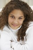 picture of pre-adolescent girl  - Close up of girl smiling - JPG