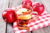 pic of cinnamon sticks  - Apple cider with cinnamon sticks and fresh apples on wooden background - JPG