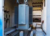 pic of transformer  - Old and abandoned transformer in a factory  - JPG