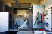picture of substation  - The Old and abandoned electricity substation in factory - JPG