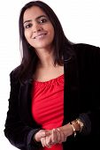 foto of east-indian  - Portrait of an East Indian woman in a business attire against a white backdrop - JPG