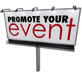 stock photo of gathering  - Promote Your Event words on a billboard - JPG
