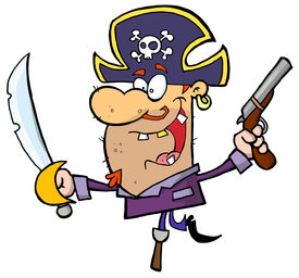picture of peg-leg  - Pirate Holding Up A Sword And Pistol And Balancing On His Peg Leg - JPG
