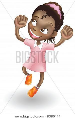 Young Girl Jumping For Joy