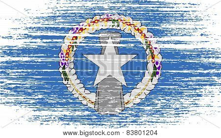 Flag Of Mariana Islands With Old Texture. Vector