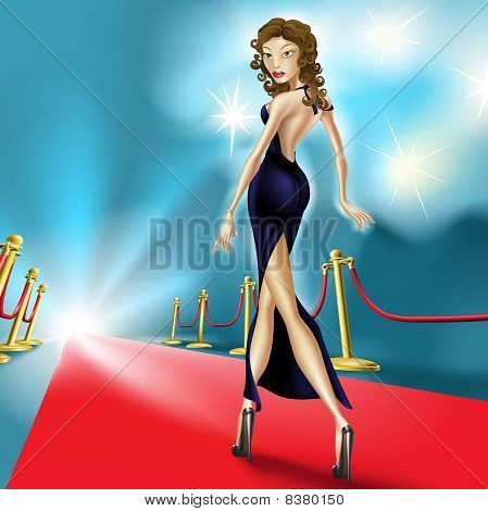 Beautiful Elegant Woman On The Red Carpet