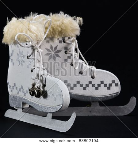 White Ice Skate Christmas Decoration