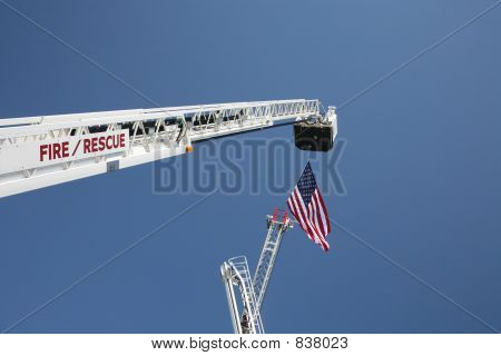 USA Flag and Fire Truck Ladders