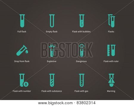 Test tube and flack icons set.