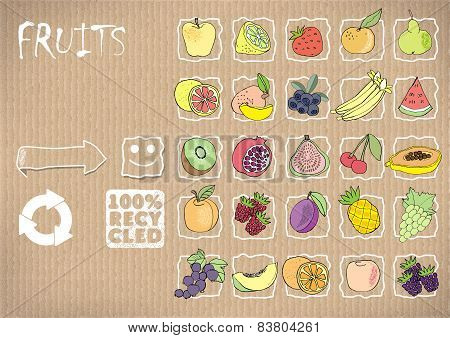 icons of friuts.vector ilustration