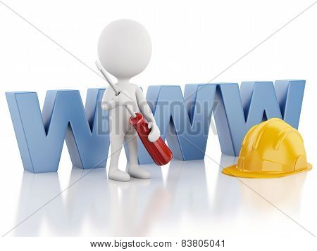 3d white people with tools. Isolated white background