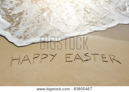 Happy Easter Written On Sand