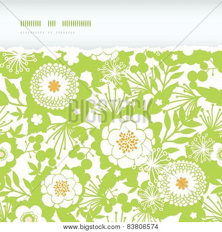 Green and golden garden silhouettes horizontal torn seamless pattern background