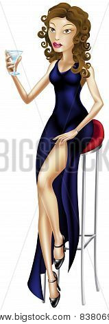 Beautiful Woman Seated On Bar Stool With Cocktail