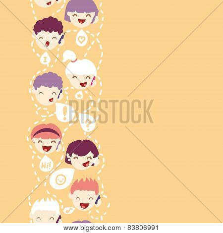 People talking on the mobile phone vertical seamless pattern