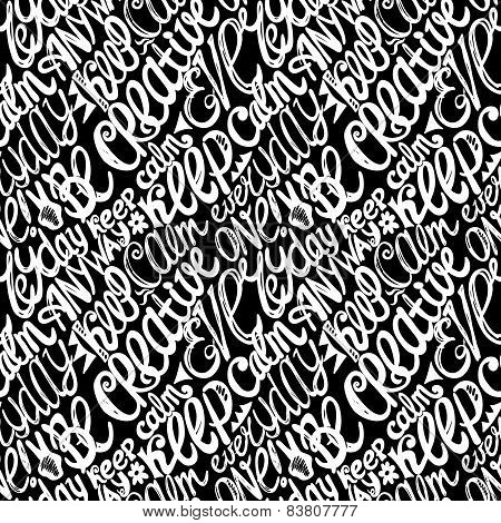 Keep Calm Creativity Motivation-seamless Hand Drawn Pattern