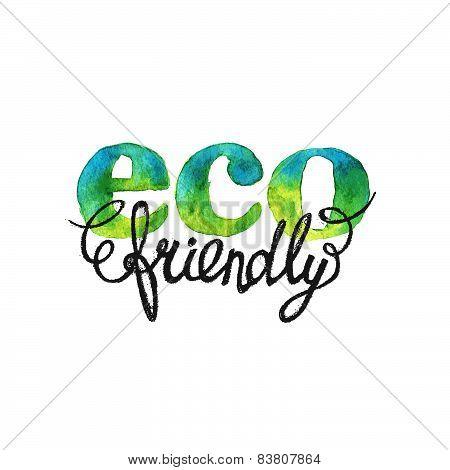 Eco Friendly Hand Drawn Watercolor Logo