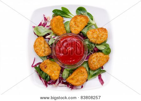 Nuggets chicken salad on top