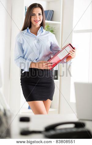 Pretty Businesswoman With Binder