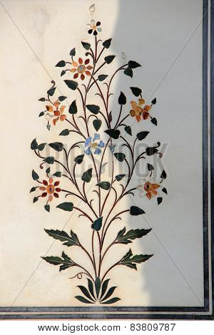 Floral Inlay In Marble