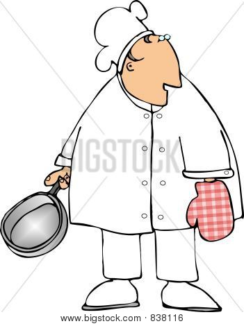 Chef with an oven mitt