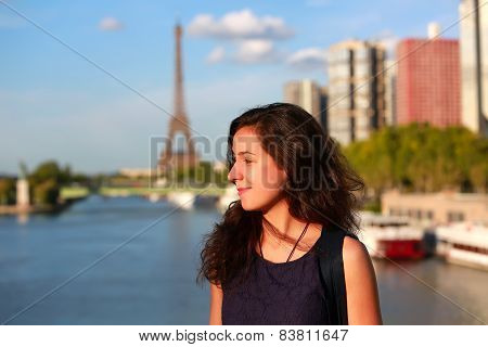 Beautiful Girl Having Fun In Paris, France