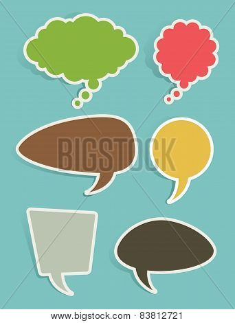 Set of Speech and Thought Bubbles or Balloons