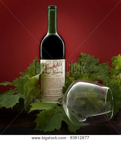 Adelaide, South Australia – February 23, 2015: Bottle Of Australian Premium Wine, Penfolds Grange He