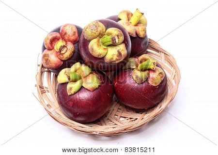 Mangosteen isolated on the white background