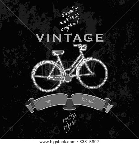grunge  poster with bycicle and typography