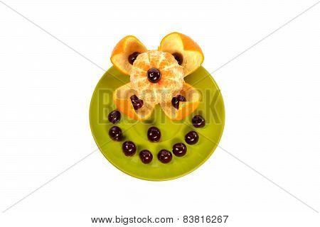 Green Plate With Mandarin And Cherry