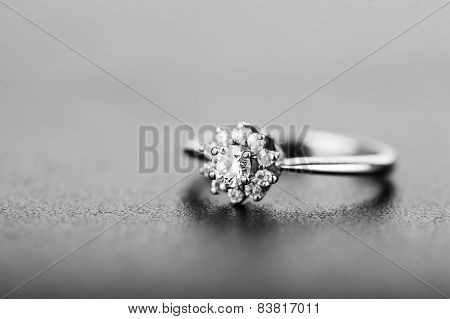 Diamond Ring On Gray Background