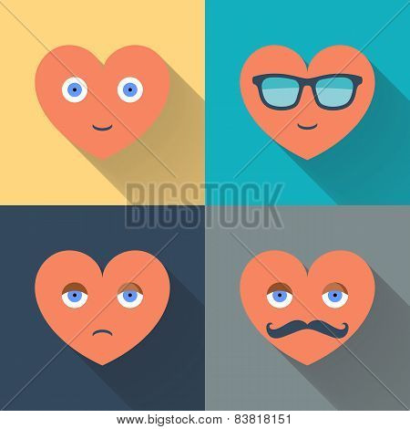 Hearts with glasses, eyes, mustache and smile. Design color flat vector illustration.