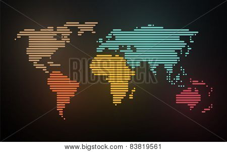 Simple Map Of The World Created Lines On Blurred Neon Background