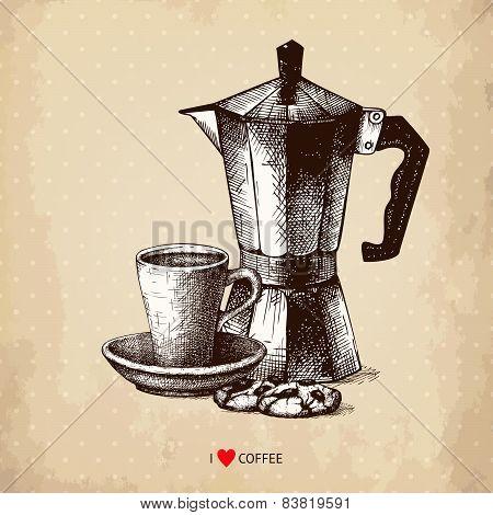 Vintage vector coffee illustration.