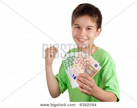 Happy Boy With Money In His Hand