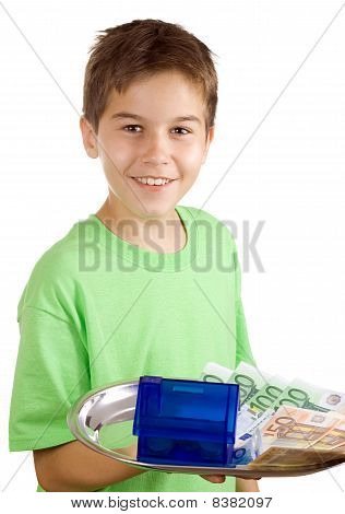 Happy Boy With Money And House On The Tray