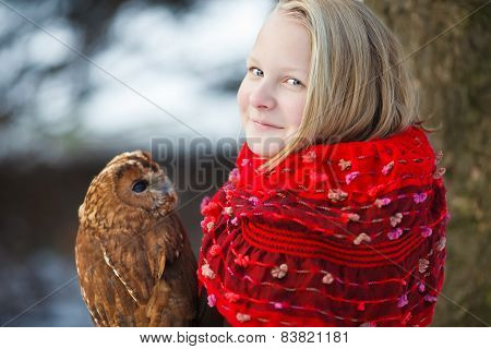 Cute Girl With Little Owl
