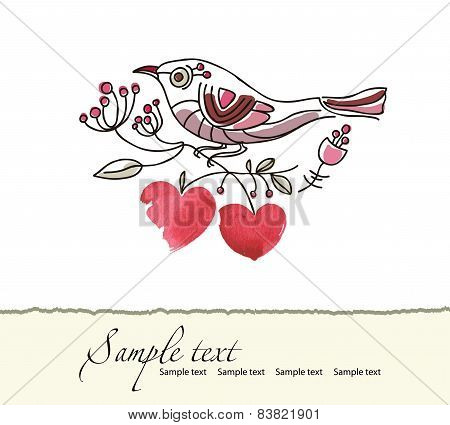 Romantic Picture Of A Bird Sitting On A Blooming Branch With Hearts